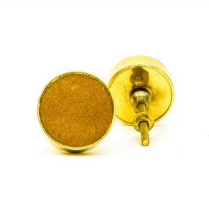 DSC 0750 Round brass edge and brown stone knob 300x300 - Sandstone Brass Knob
