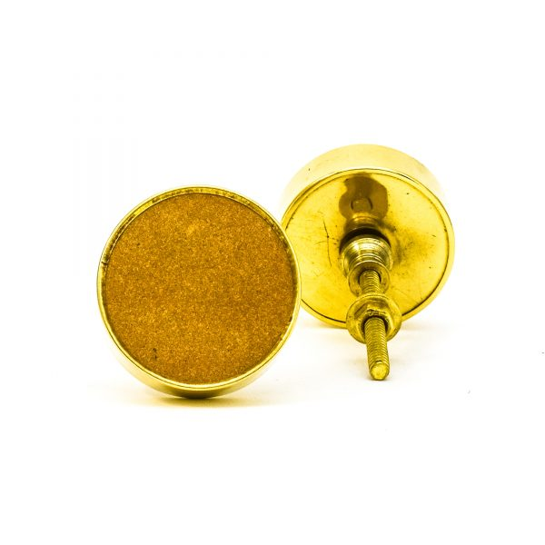 DSC 0750 Round brass edge and brown stone knob 600x600 - Sandstone Brass Knob