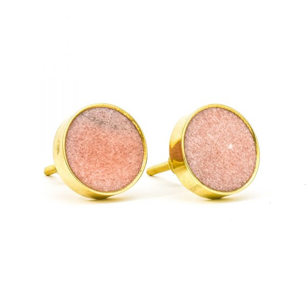 Dessert Pink Stone Brass Knob