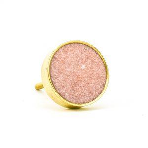 DSC 0759 Round brass edge and white stone knob 300x300 - Dessert Pink Stone Brass Knob