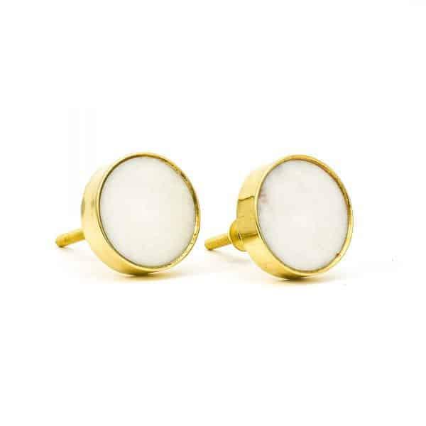 DSC 0762 Round brass edge and white stone knob 600x600 - White Stone Brass Knob