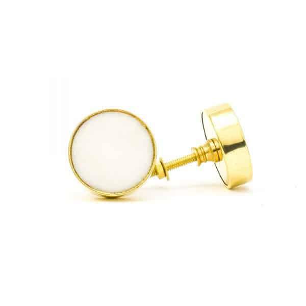DSC 0763 Round brass edge and white stone knob 600x600 - White Stone Brass Knob