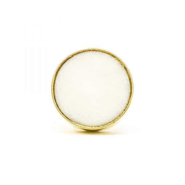DSC 0765 Round brass edge and white stone knob 600x600 - White Stone Brass Knob