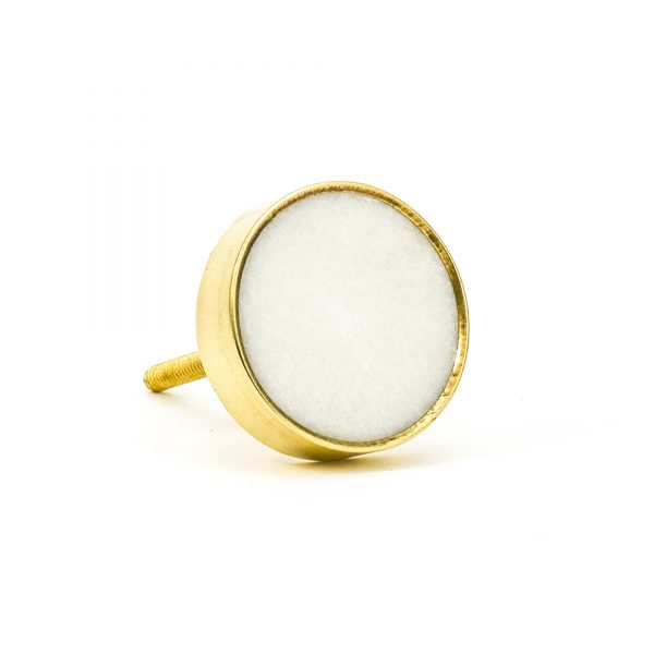 DSC 0766 Round brass edge and white stone knob 600x600 - White Stone Brass Knob