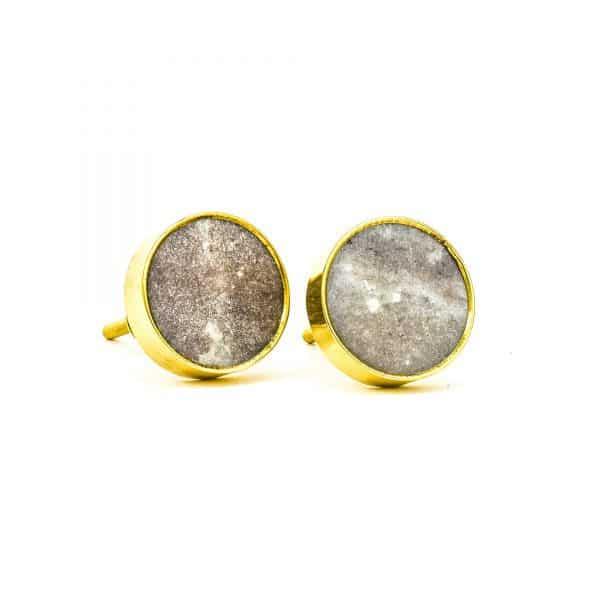DSC 0769Round brown swirled stone and brass knob 600x600 - Brown Marble Brass Knob