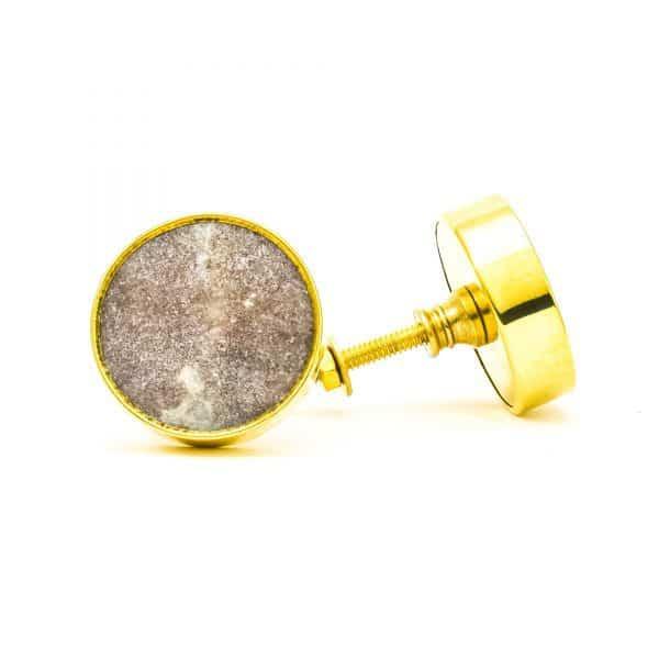 DSC 0770Round brown swirled stone and brass knob 600x600 - Brown Marble Brass Knob