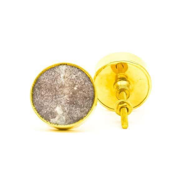 DSC 0771Round brown swirled stone and brass knob 600x600 - Brown Marble Brass Knob