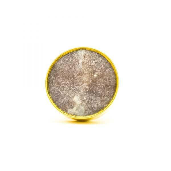 DSC 0773Round brown swirled stone and brass knob 600x600 - Brown Marble Brass Knob