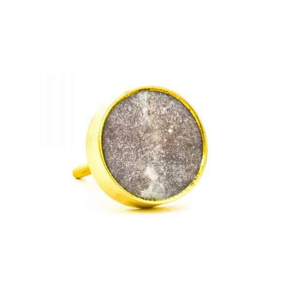 DSC 0774Round brown swirled stone and brass knob 600x600 - Brown Marble Brass Knob