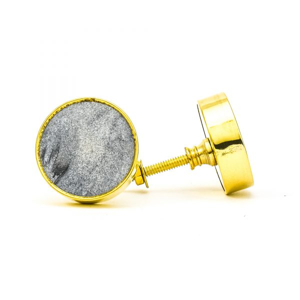 DSC 0778Round dark grey stone and brass knob 600x600 - Dark Grey Marble Brass Knob