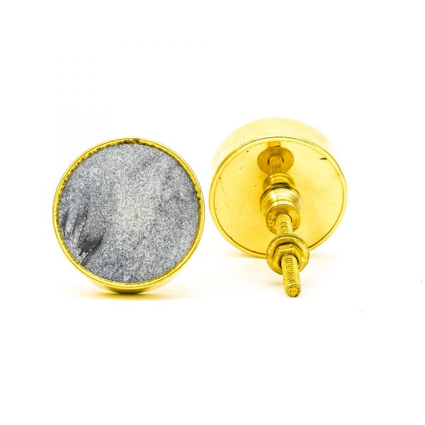 DSC 0779Round dark grey stone and brass knob 600x600 - Dark Grey Marble Brass Knob