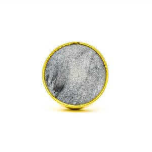 DSC 0780Round dark grey stone and brass knob 300x300 - Dark Grey Marble Brass Knob