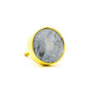 Dark Grey Marble Brass Knob