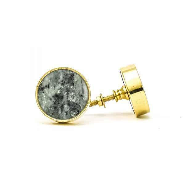 DSC 0785 Round brass edge and grey stone knob 600x600 - Green Marble Brass Knob