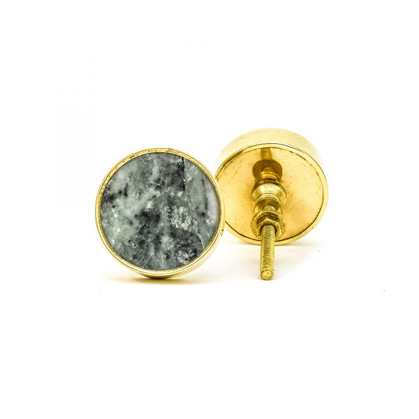 DSC 0786 Round brass edge and grey stone knob 600x600 - Green Marble Brass Knob