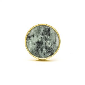DSC 0787 Round brass edge and grey stone knob 300x300 - Green Marble Brass Knob