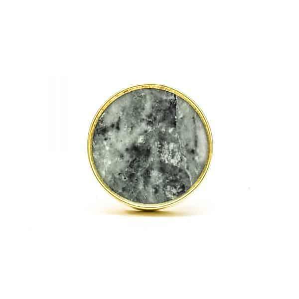 DSC 0787 Round brass edge and grey stone knob 600x600 - Green Marble Brass Knob