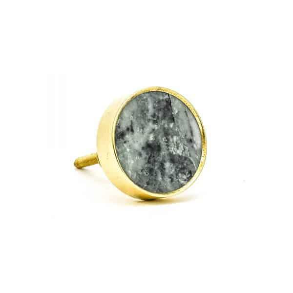 DSC 0788 Round brass edge and grey stone knob 600x600 - Green Marble Brass Knob