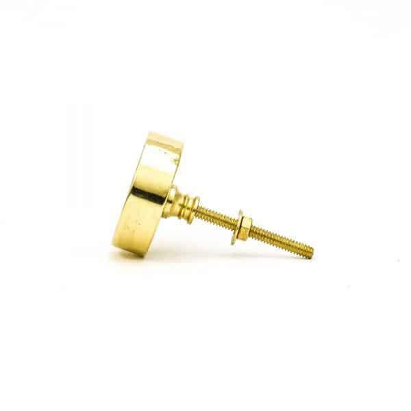 DSC 0789 Round brass edge and grey stone knob 600x600 - Green Marble Brass Knob