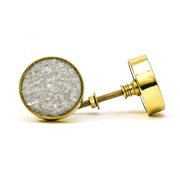 DSC 0792 Round brass edge and light grey stone knob 600x600 - Grey Crystal Stone Brass Knob