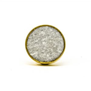 DSC 0794 Round brass edge and light grey stone knob 300x300 - Grey Crystal Stone Brass Knob