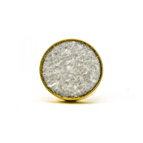 DSC 0794 Round brass edge and light grey stone knob 600x600 - Grey Crystal Stone Brass Knob