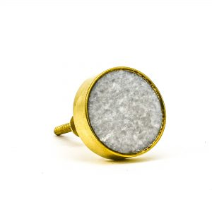 DSC 0795 Round brass edge and light grey stone knob 300x300 - Grey Crystal Stone Brass Knob