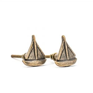 Antique Gold Sail Boat Knob