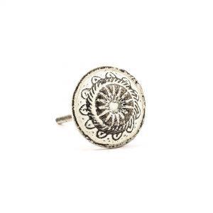 White Rustic Wheel Knob