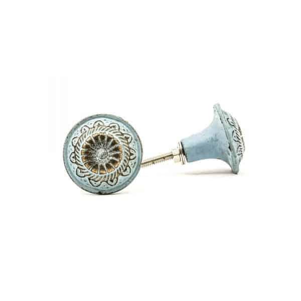 Baby Blue Rustic Wheel Knob