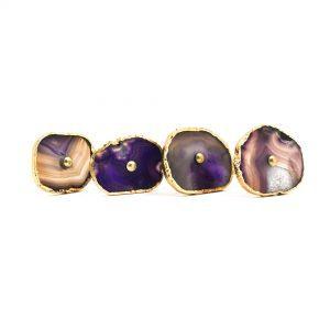 Purple, Taupe, Cream Sliced Agate Knob