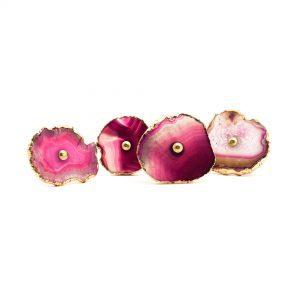 Pink, Cream and Mauve Sliced Agate Knob