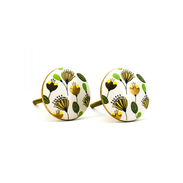 DSC 0091green leaf with gold round knob 600x600 - Leaf and Bloom Knob,