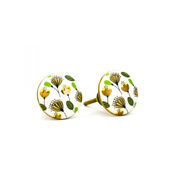 DSC 0093green leaf with gold round knob 600x600 - Leaf and Bloom Knob,