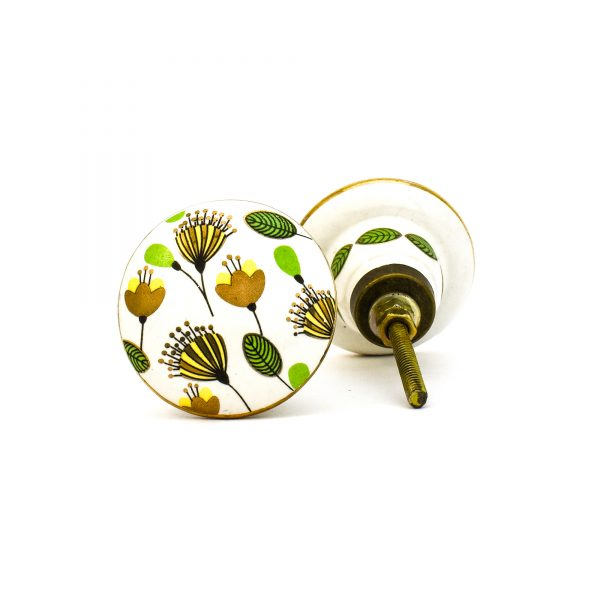 DSC 0096green leaf with gold round knob 600x600 - Leaf and Bloom Knob,