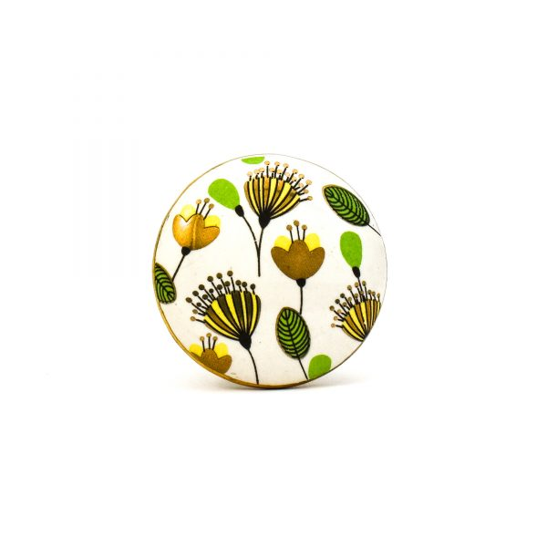 DSC 0097green leaf with gold round knob 600x600 - Leaf and Bloom Knob,
