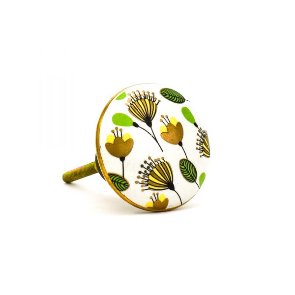 DSC 0098green leaf with gold round knob 600x600 - Leaf and Bloom Knob,