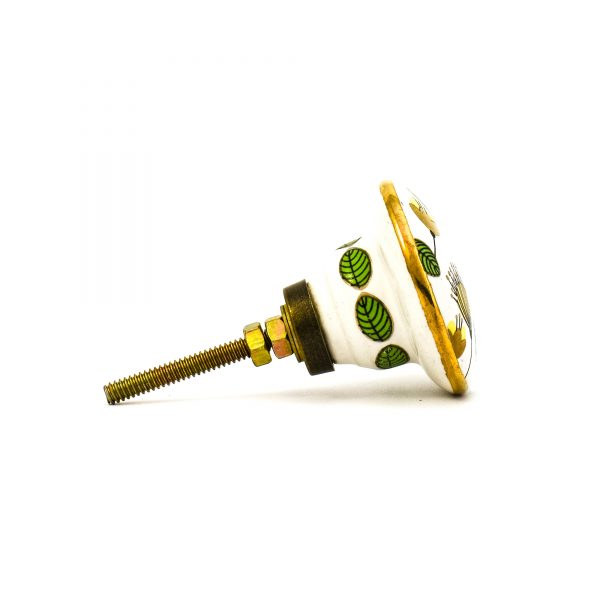 DSC 0099green leaf with gold round knob 600x600 - Leaf and Bloom Knob,