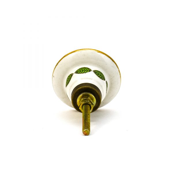 DSC 0101green leaf with gold round knob 600x600 - Leaf and Bloom Knob,