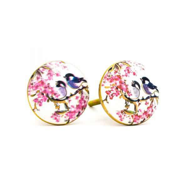 DSC 0143Pink detail bird knob 600x600 - Fairywren and Blossom Knob