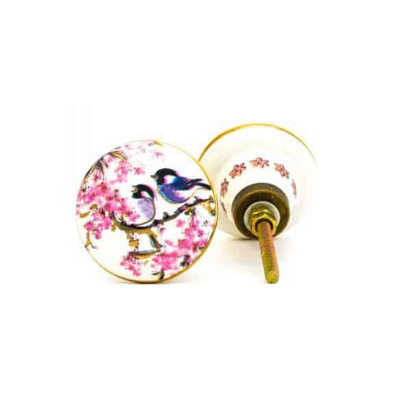 DSC 0144Pink detail bird knob 600x600 - Fairywren and Blossom Knob