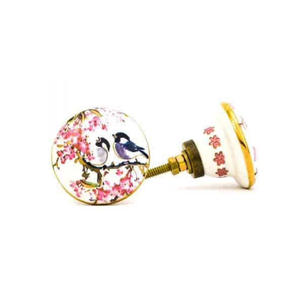 DSC 0145Pink detail bird knob 600x600 - Fairywren and Blossom Knob