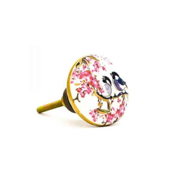 DSC 0147Pink detail bird knob 600x600 - Fairywren and Blossom Knob