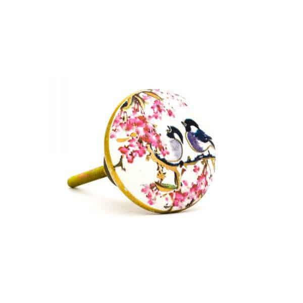 DSC 0148Pink detail bird knob 600x600 - Fairywren and Blossom Knob