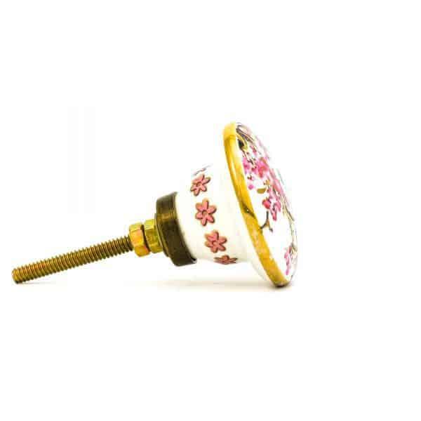 DSC 0149Pink detail bird knob 600x600 - Fairywren and Blossom Knob