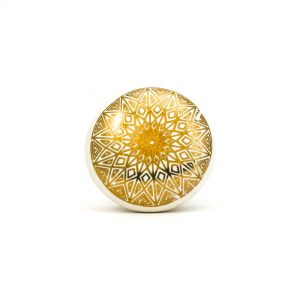 DSC 0155gold design on white ceramic knob 300x300 - Gold Diamond Mandala Knob