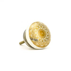 DSC 0156gold design on white ceramic knob 300x300 - Gold Diamond Mandala Knob