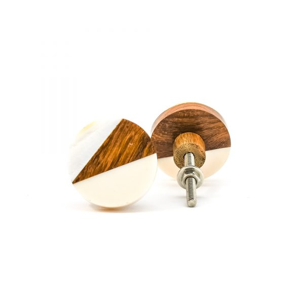 DSC 0331Trio splicer knob 600x600 - Round Cream Wood Wedge Trio Knob