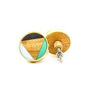 DSC 0349 Small round brass resin trio and wood knob 300x300 - Small Bermuda Triangle Knob
