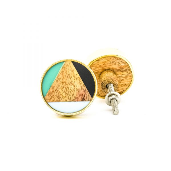 DSC 0357 Large round brass resin trio and wood knob 600x600 - Large Bermuda Triangle Knob